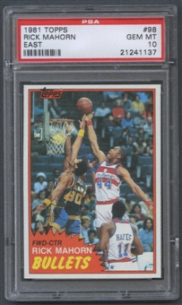 1981/82 Topps Basketball #E98 Rick Mahorn Rookie PSA 10 (GEM MT) *1137