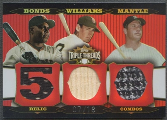 2006 Topps Triple Threads #63 Barry Bonds Ted Williams Mickey Mantle Suit Bat #07/18