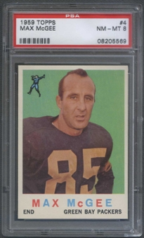 1959 Topps Football #4 Max McGee Rookie PSA 8 (NM-MT) *5569
