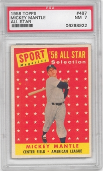 1958 Topps Baseball #487 Mickey Mantle All Star PSA 7 (NM) *8922