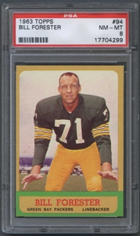 1963 Topps Football #94 Bill Forester PSA 8 (NM-MT) *4299