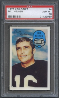 1970 Kellogg's Football #4 Bill Nelsen PSA 10 (GEM MT) *9950