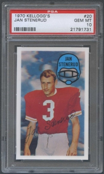 1970 Kellogg's Football #20 Jan Stenerud PSA 10 (GEM MT) *1731