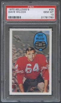 1970 Kellogg's Football #28 Dave Wilcox PSA 10 (GEM MT) *1760