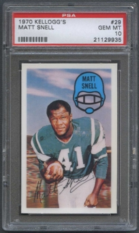 1970 Kellogg's Football #29 Matt Snell PSA 10 (GEM MT) *9935