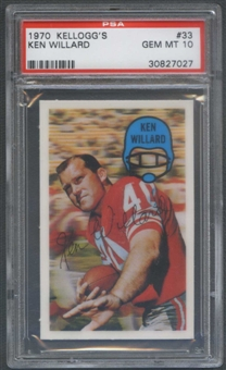 1970 Kellogg's Football #33 Ken Willard PSA 10 (GEM MT) *7027