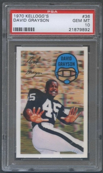 1970 Kellogg's Football #36 David Grayson PSA 10 (GEM MT) *9892