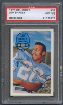 1970 Kellogg's Football #37 Lem Barney PSA 10 (GEM MT) *9979