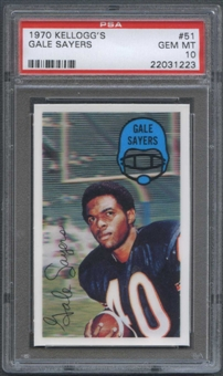 1970 Kellogg's Football #51 Gale Sayers PSA 10 (GEM MT) *1223