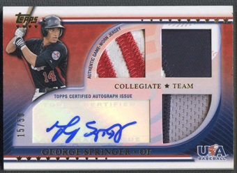 2010 USA Baseball #GS George Springer Rookie Triple Patch Auto #15/50