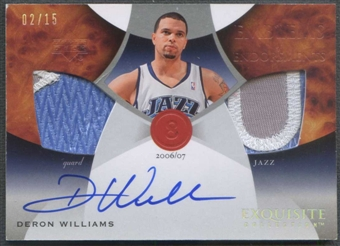 2006/07 Exquisite Collection #EMDW Deron Williams Emblems of Endorsements Patch Auto #02/15