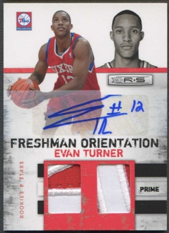 2010/11 Rookies and Stars #2 Evan Turner Freshman Orientation Double Materials Rookie Patch Auto #03/10