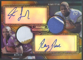 2008 Bowman Sterling #AR16 Kevin Smith & Ray Rice Gold Rookie Dual Patch Auto #27/75