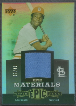 2006 Upper Deck Epic #LB2 Lou Brock Materials Grey Jersey #37/40