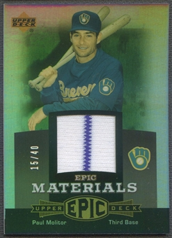 2006 Upper Deck Epic #PM1 Paul Molitor Materials Grey Jersey #15/40