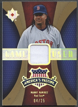 2007 Ultimate Collection #MR2 Manny Ramirez America's Pastime Memorabilia Gold Jersey #04/25