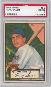 1952 Topps Baseball #35 Hank Sauer PSA #2 (GOOD) *5198