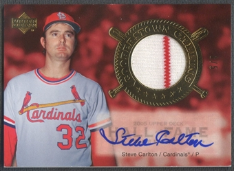 2005 Upper Deck Hall of Fame #SC1 Steve Carlton Cooperstown Calling Material Gold Jersey Auto #1/5