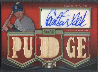 2010 Topps Triple Threads #AR274 Carlton Fisk Relics Bat Auto #07/18