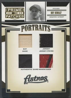 2005 Prime Patches #9 Roy Oswalt Portraits Quad Swatch Prime Bat Shoe Jersey Patch #35/56