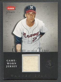 2004 Greats of the Game #WS Warren Spahn Glory of Their Time Game Used Jersey #018/250