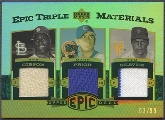 2006 Upper Deck Epic #GPS Bob Gibson Mark Prior Tom Seaver Triple Materials Jersey #83/99
