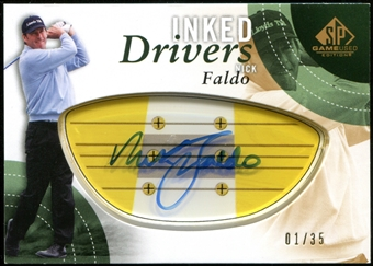 2014 Upper Deck SP Game Used Inked Drivers Blonde Persimmon #IDNF Nick Faldo Autograph 1/35