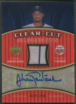 2007 Upper Deck Elements #SA Johan Santana Clear Cut Elements Bronze Jersey Auto #032/299