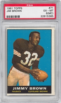 1961 Topps Football #71 Jim Brown PSA 6 (MC) (EX-MT) *5385