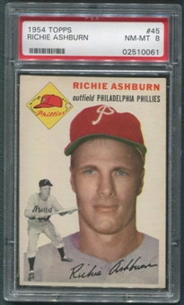 1954 Topps Baseball #45 Richie Ashburn PSA 8 (NM-MT) *0061
