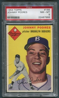 1954 Topps Baseball #166 Johnny Podres PSA 8 (NM-MT) *7966