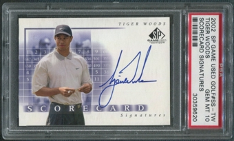 2002 SP Game Used #SSTW Tiger Woods Scorecard Signatures Auto PSA 10
