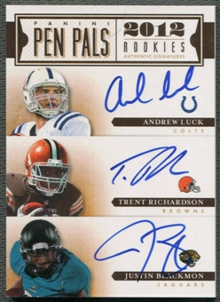 2012 Prime Signatures #9 Andrew Luck Justin Blackmon Trent Richardson Pen Pals Rookie Auto