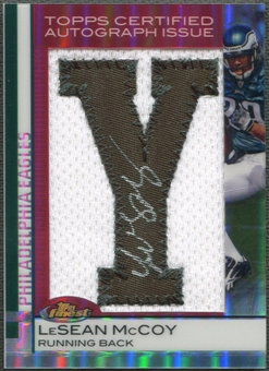 "2009 Finest #121 LeSean McCoy Refractor Rookie Letter ""Y"" Patch Auto #10/10"