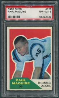 1960 Fleer Football #128 Paul Maguire Rookie PSA 8 (NM-MT) *2723