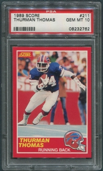 1989 Score Football #211 Thurman Thomas Rookie PSA 10 (GEM MT) *2762