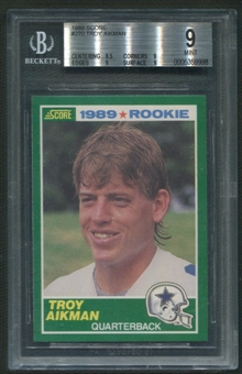 1989 Score Football #270 Troy Aikman Rookie BGS 9 (MINT) *9998