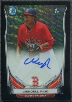2014 Bowman Chrome Prospect #BCAPWR Wendell Rijo Rookie Black Wave Refractor Auto #08/50