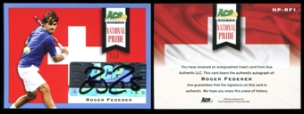 2013 Leaf Ace Authentic Grand Slam National Pride Autographs Blue #NPRF1 Roger Federer 2/3