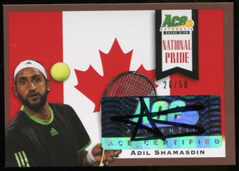 2013 Leaf Ace Authentic Grand Slam National Pride Autographs Brown #NPAS1 Adil Shamasdin Autograph 26/50