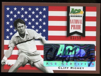 2013 Leaf Ace Authentic Grand Slam National Pride Autographs Brown #NPCR1 Cliff Richey Autograph 3/50