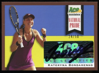 2013 Leaf Ace Authentic Grand Slam National Pride Autographs Brown #NPKB1 Kateryna Bondarenko Autograph 24/50