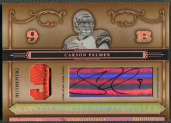 2006 Playoff National Treasures #74 Carson Palmer Jersey Numbers Patch Auto #4/9