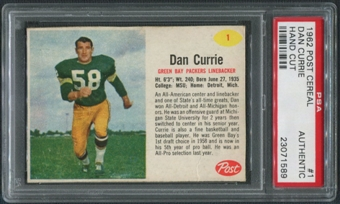 1962 Post Cereal #1 Dan Currie PSA (Authentic) *1589
