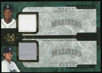 2005 Upper Deck Ultimate Collection Dual Materials #BH Adrian Beltre/Felix Hernandez Jersey /15