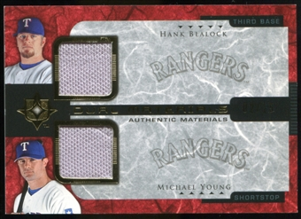 2005 Upper Deck Ultimate Collection Dual Materials #BY Hank Blalock/Michael Young Jersey /15