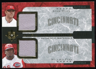 2005 Upper Deck Ultimate Collection Dual Materials #DP Adam Dunn/Wily Mo Pena Jersey /15