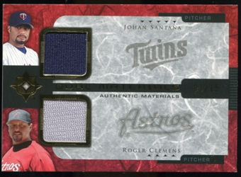 2005 Upper Deck Ultimate Collection Dual Materials #SC Johan Santana/Roger Clemens Jersey /15