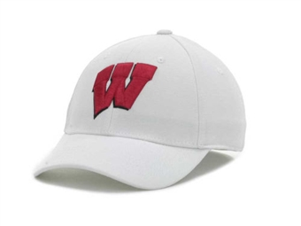 Wisconsin Badgers New Era 39Thirty Team Classic White Flex Fit Hat