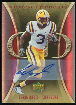 2007 Upper Deck Artifacts Rookie Autographs #165 Craig Buster Davis Autograph /25